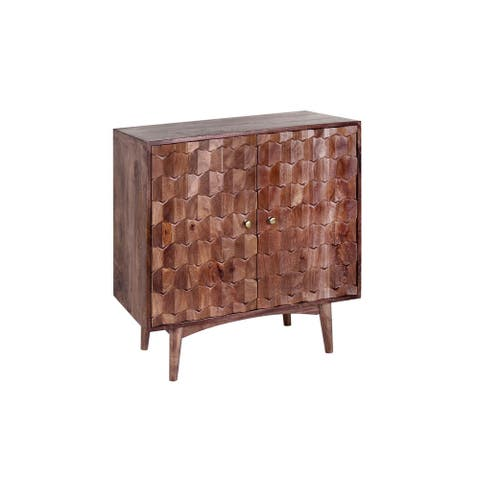 Evola 32-inch Hand Carved Mango Wood Sideboard with Scalloped Motif