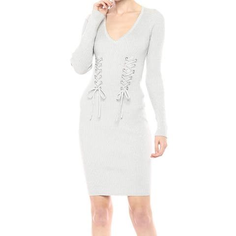 Guess Women's Silver Size Small S Glitter Ribbed Knit Sweater Dress