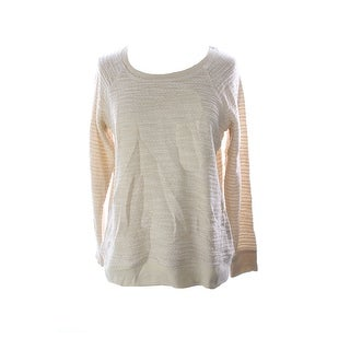 Style & Co. Sport Natural Textured Pointelle-Knit Metallic Sweater M