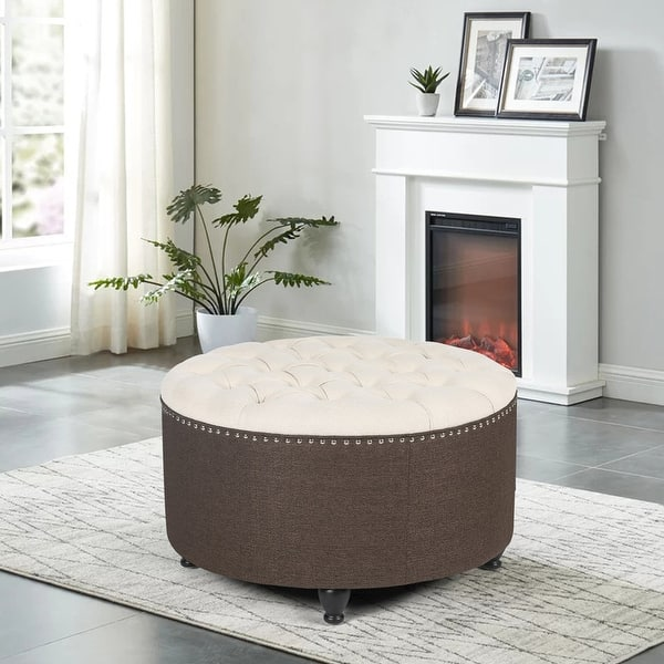 Adeco Tufted Ottoman 28 Linen Upholstered Coffee Table Footstool Overstock 31873796