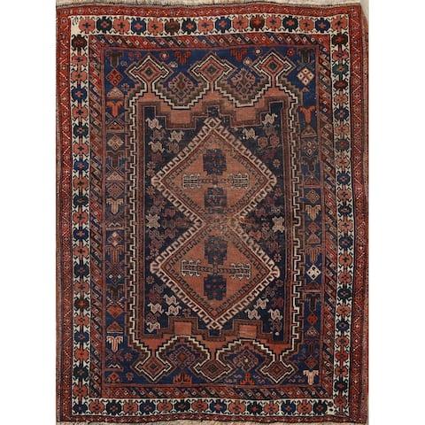 "Pre-1900 Antique Geometric Heriz Persian Area Rug Wool Handmade - 3'6"" x 4'6"""