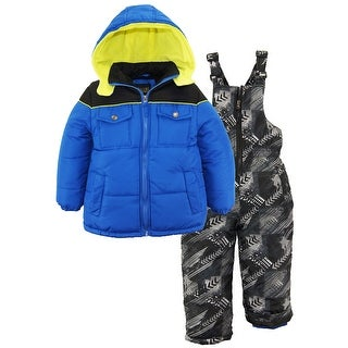iXtreme Toddler Boys Colorblock 2-Piece Snowsuit Puffer Jacket Ski Bib Pant