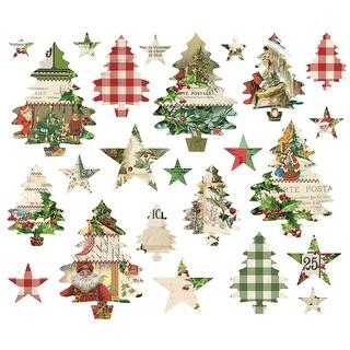 Simple Vintage Christmas Trees And Stars Die-Cuts 24/Pkg-