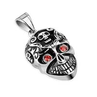 Smiling Skull with Red CZ Eyes Stainless Steel Pendant (25 mm Width)