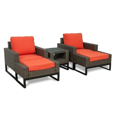 Venice 5-PC Outdoor Patio Conversation Chair with Ottoman Set