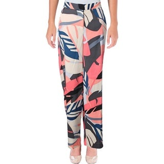 Vince Camuto Womens Wide Leg Pants Tropical Print Flat Front