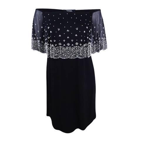 MSK Women's Plus Size Embellished Off-The-Shoulder Dress - Black