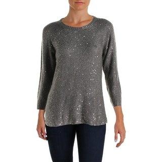 Anne Klein Womens Sequined Raglan Sleeves Pullover Sweater