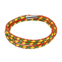 Red, Green, and Yellow Multi Weaved Triple Wrap Bracelet with Snap On Closure (12 mm) - 8 in