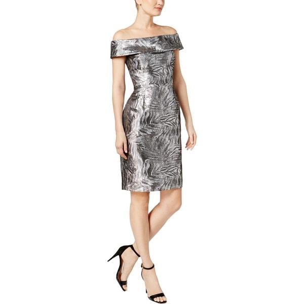 Calvin Klein Womens Party Dress Off-The-Shoulder Sheath