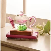 "Glow-in-the-Dark Paperweight - Glass Butterfly Teapot - 3"" x 3.5"""