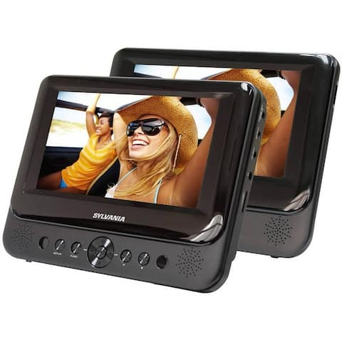 "Sylvania SDVD7750 7"" Dual Screen Portable DVD Player, Black Manufacturer Refurbished"