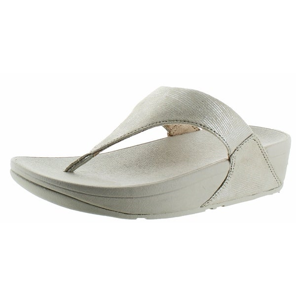 FitFlop Women's Lulu Toe-Thong Shimmer Suede Sandal Shoes