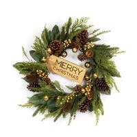 """Set of 2 Green and Brown Round """"Merry Christmas"""" Tag  Artificial Wreath with Birth Stone Ornaments 25"""""""