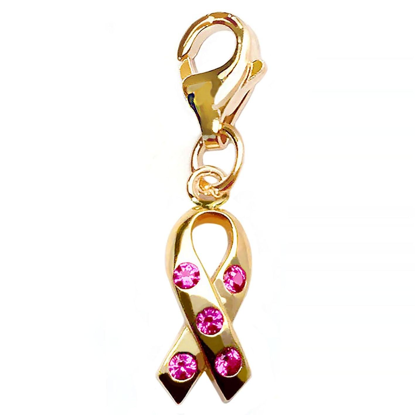 Julieta Jewelry Pink Awareness Ribbon CZ Clip-On Charm - Thumbnail 0