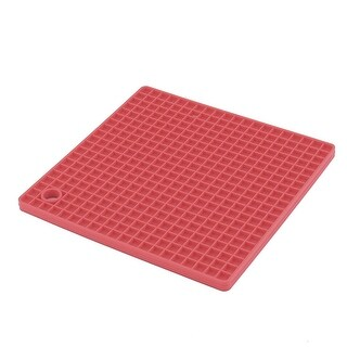 Kitchen Silicone Rectangle Shaped Table Decoration Heat Insulation Placemat Red