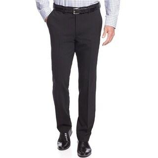 Club Room Slim Fit Wool Flat Front Dress Pants Black Solid 34W x 34L - 34