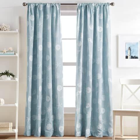 Coastal Seashells Rod Pocket Curtain Panel