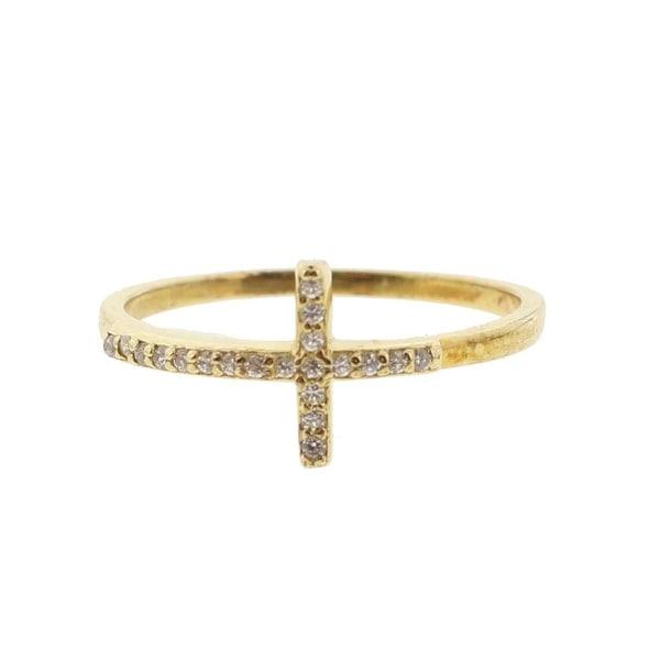 DTLA Fine Jewelry Womens Fashion Ring Pave Cross - Gold