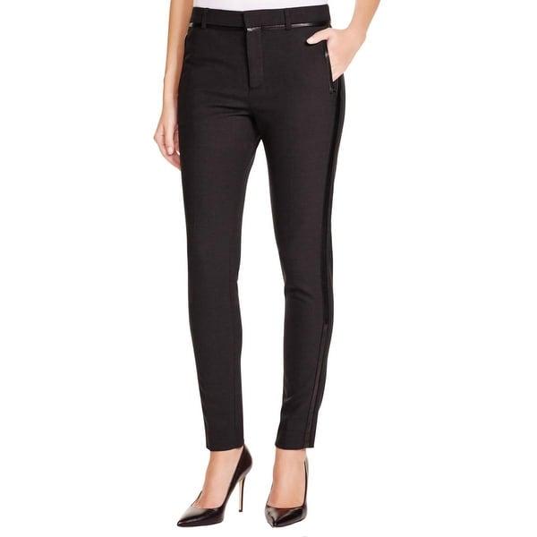 Vince Womens Dress Pants Faux Leather Trim Flat Front