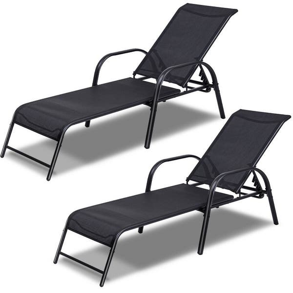 Costway Set Of 2 Patio Lounge Chairs Sling Chaise Lounges Recliner On Sale Overstock 19626746