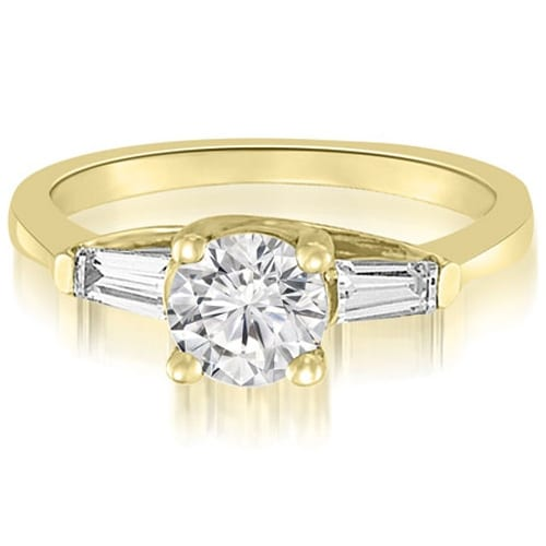 1.20 cttw. 14K Yellow Gold 3-Stone Round And Baguette Diamond Engagement Ring