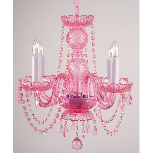 Pink Crystal Chandelier Light Lighting Fixture