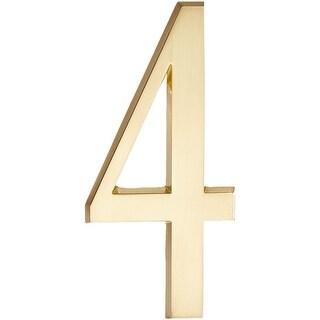 """Whitehall 4.75"""" Number 4 Standard Plaque (Satin Brass)"""