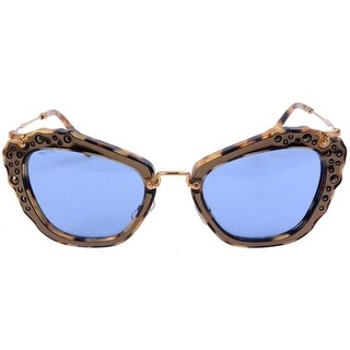 Miu Miu Noir Women's Sunglasses (Marble Gold Frame/Blue Lenses)