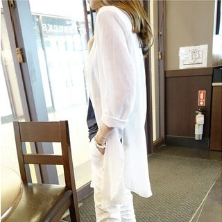 Long-sleeved white shirt female loose linen shawl coat thin sun protection clothing