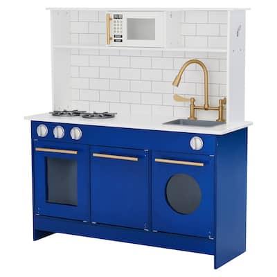 Teamson Kids - Little Chef Berlin Modern Play Kitchen - White, Blue - 34 x 11.75 x 37
