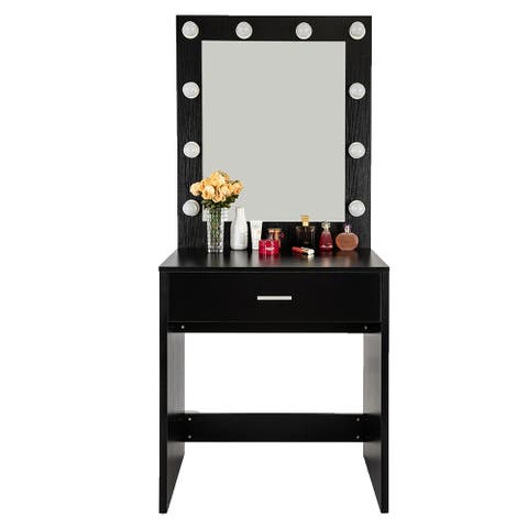 Single Drawer Dressing Table With a Warm Light bulb Large Mirror