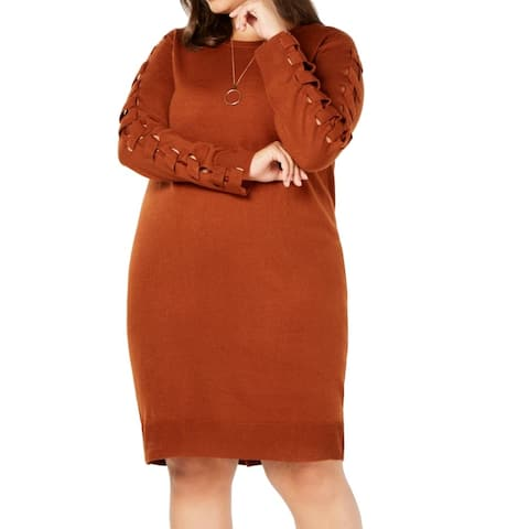 Love Scarlett Women's Orange Size 2X Plus Knit Lace-Up Sweater Dress