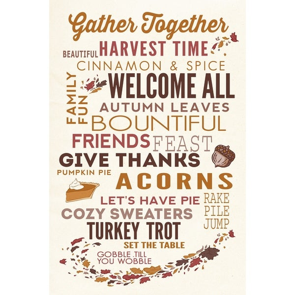 Gather Together Thanksgiving Typography LP Artwork Art Print