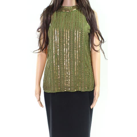 Angie Womens Medium Embellished Back-Keyhole Blouse