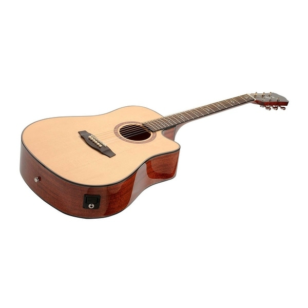 shop monoprice solid top acoustic guitar spruce with fishman pickup tuner and protective gig. Black Bedroom Furniture Sets. Home Design Ideas