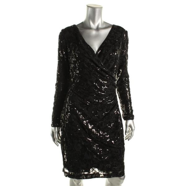 Lauren Ralph Lauren Womens Willamina Cocktail Dress Sequined Faux Wrap