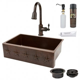 Premier Copper Products KSP4-KASDB33229ST 33 in. Copper Hammered Kitchen Apron Sink with Spring Pull Down Faucet - Star Design