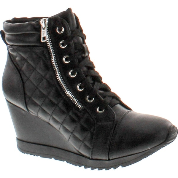 Forever Adriana12 Women Sporty Leatherette Lace-Up High Top Wedge Sneaker Bootie Shoes - black_a-12