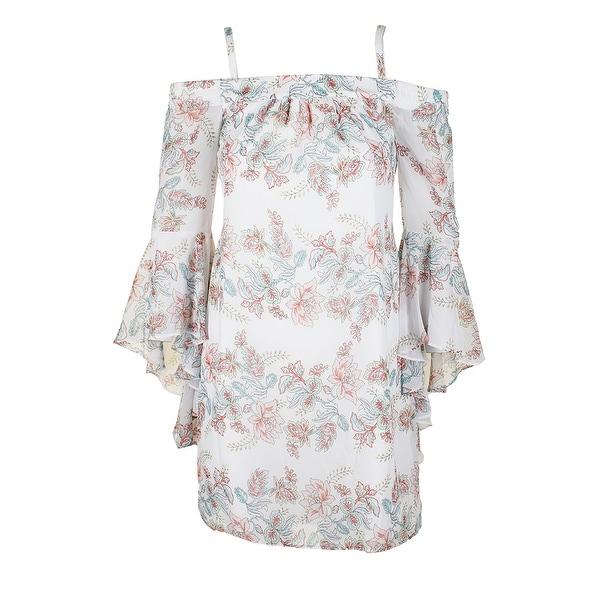 d8cf2e172fa8 Kensie White Multi Angepl-Sleeve Off-The-Shoulder Floral Print Shift Dress 2