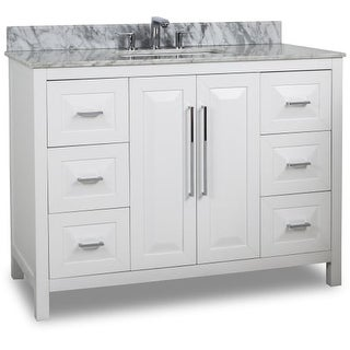 "Jeffrey Alexander VAN104-48-T Cade Contempo 48"" Vanity Set with Wood Cabinet, Marble Top, and One Undermount Sink"