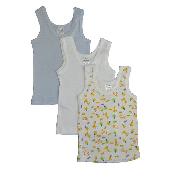 Baby Boy's White, Blue, Printed Rib Knit Pastel Sleeveless Tank Top Shirt