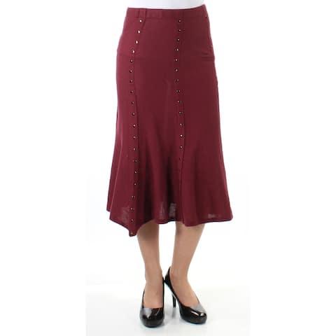 NY COLLECTION Womens Burgundy Rhinestone Sheer Midi Mermaid Skirt Size: XS