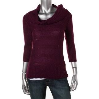 BCX Womens Juniors Tunic Sweater Metallic Cowl Neck - XL