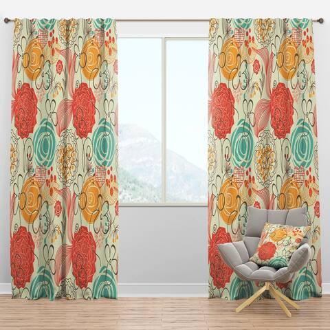 Designart 'Retro Floral Pattern' Bohemian & Eclectic Blackout Curtain Panel