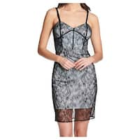 Guess Blue Black Womens Size 6 Lace Overlay Bustier Sheath Dress