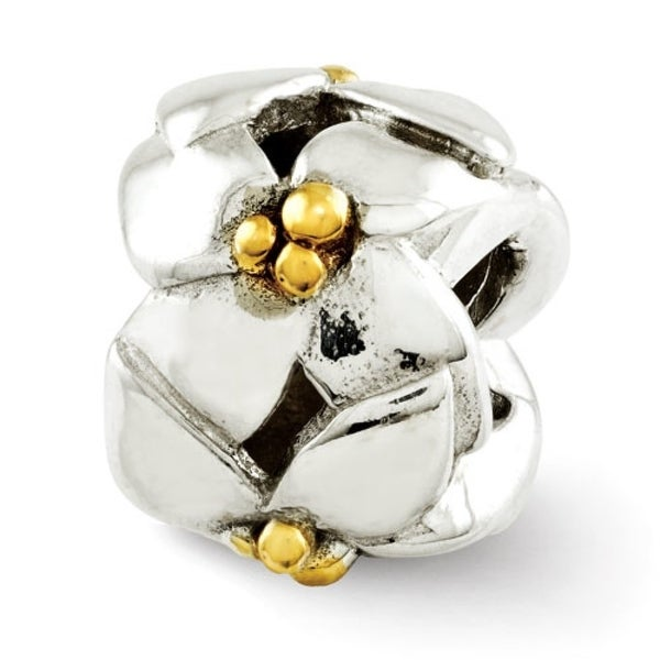 Sterling Silver Reflections Gold-plated & Polished Flowers Bead (4mm Diameter Hole)