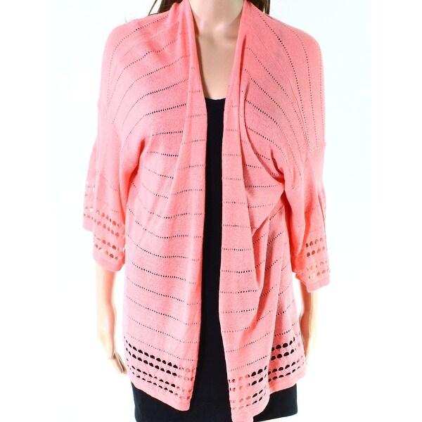 Ruby Rd. Papaya Womens Plus Knitted Cardigan Sweater