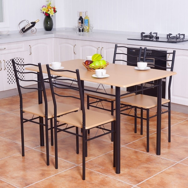 Dining Kitchen Table Sets: Shop Costway 5 Piece Dining Table Set With 4 Chairs Wood