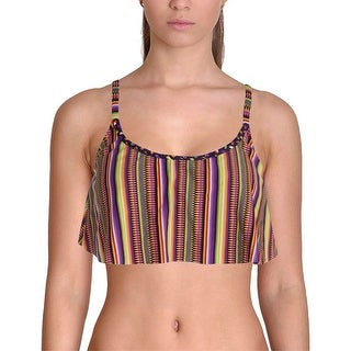 Lucky Brand Womens Braided Flounce Swim Top Separates - L